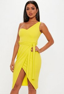 Read more about Yellow one shoulder tie midi dress yellow