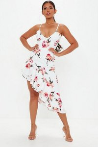 Read more about White strappy floral frill hem midi dress multi