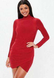 Read more about Red slinky high neck wrap bodycon mini dress red