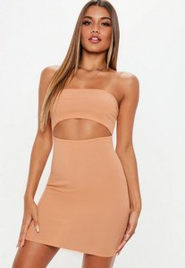 Read more about Camel bandeau ribbed cut out dress brown
