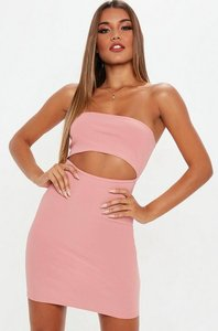 Read more about Blush bandeau ribbed cut out dress pink