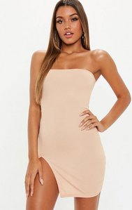 Read more about Sand bandeau ribbed thigh split mini dress nude