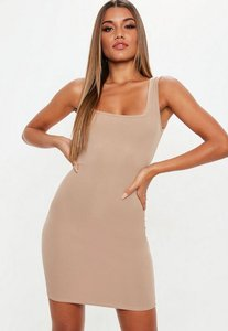 Read more about Sand square neck bodycon dress nude