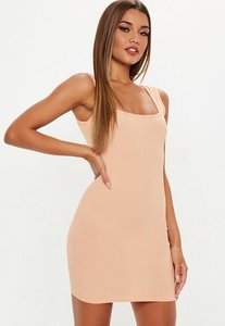 Read more about Sand square neck bodycon dress pink