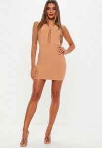 Read more about Camel cross front halterneck mini dress brown