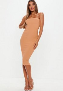 Read more about Camel bandeau midi dress brown