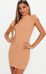 Read more about Camel cap sleeve high neck mini dress brown