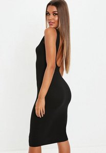 Read more about Black scoop back midi dress black