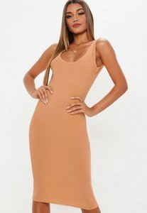 Read more about Camel scoop back midi dress brown