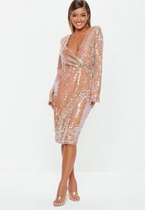 Read more about Blush sequin fluted sleeve wrap over midi dress blush