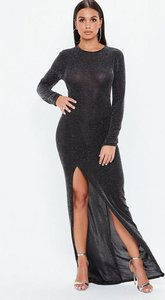 Read more about Black glitter high side split maxi dress silver