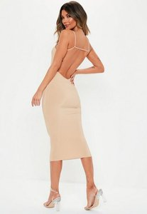 Read more about Stone slinky strappy low back bodycon midi dress stone