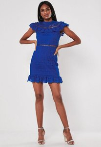 Read more about Blue high neck frill lace mini dress blue