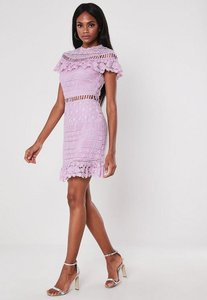 Read more about Lilac high neck frill lace mini dress lilac