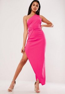 Read more about Pink one shoulder wrap bodycon midi dress pink