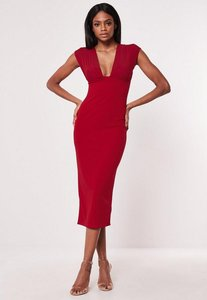 Read more about Red mesh overlay bodycon midaxi dress red