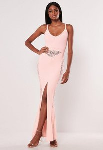 Read more about Pink lace panel strappy fishtail maxi dress pink