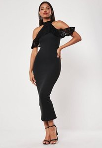 Read more about Black lace frill cold shoulder bodycon midi dress black