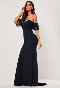 Read more about Bridesmaid navy bardot lace detail fishtail maxi dress navy