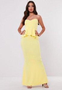 Read more about Bridesmaid lemon sweetheart bandeau peplum maxi dress lemon