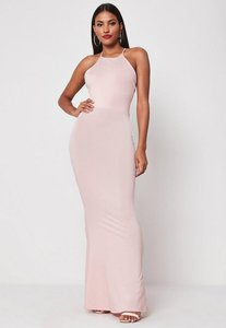 Read more about Blush cross back high neck maxi dress blush