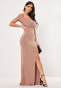 Read more about Mink bardot wrap slit slinky maxi dress mauve