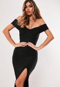 Read more about Black bardot wrap slit slinky maxi dress black