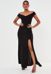 Read more about Black bardot wrap slit maxi dress black