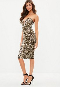 Read more about Brown leopard print scuba plunge bandeau midi dress brown