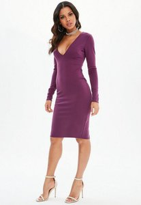 Read more about Purple ponte long sleeve midi dress purple