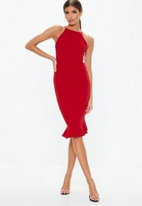 Read more about Red scuba square neck frill hem midi dress red