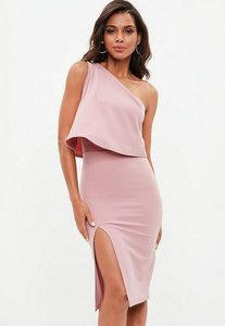 Read more about Rose pink one shoulder crepe overlay split midi dress purple
