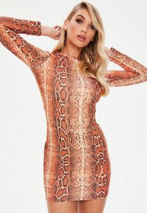 Read more about Orange snake print bodycon dress yellow