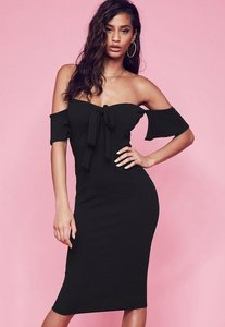 Read more about Black stretch crepe tie front bardot midi dress black