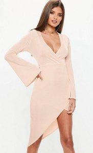 Read more about Pink flared sleeve slinky wrap dress pink