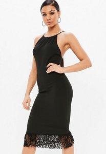 Read more about Black scuba 90s neck lace frill midi dress black