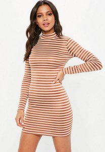 Read more about Nude stripe long sleeve bodycon dress beige