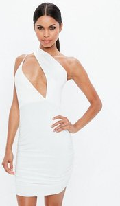 Read more about Cream scuba slinky one shoulder cut out dress white