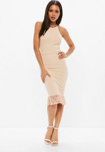 Read more about Pink scuba 90s neck lace frill hem midi dress pink