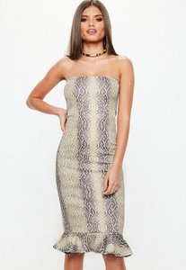 Read more about Grey snake print bandeau flippy hem midi dress grey