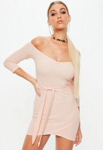 Read more about Rose long sleeve tie front wrap dress beige