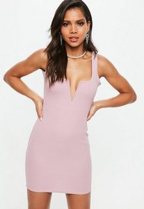 Read more about Lilac v bar front bodycon mini dress purple