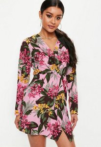 Read more about Pink twist front long sleeve tropical mini dress pink