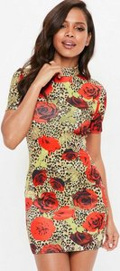 Read more about Red rose leopard print high neck bodycon dress red