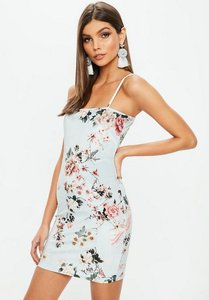 Read more about Blue strappy floral printed velvet mini dress blue