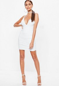 Read more about White slinky cross back ruched side dress white