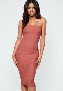 Read more about Rust bandeau bandage midi dress brown
