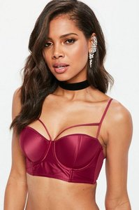 Read more about Burgundy satin harness balconette bra red