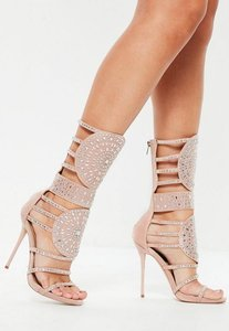 Read more about Pink calf heigh embellished sandals beige