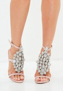 Read more about Pink ankle height embellished sandals beige
